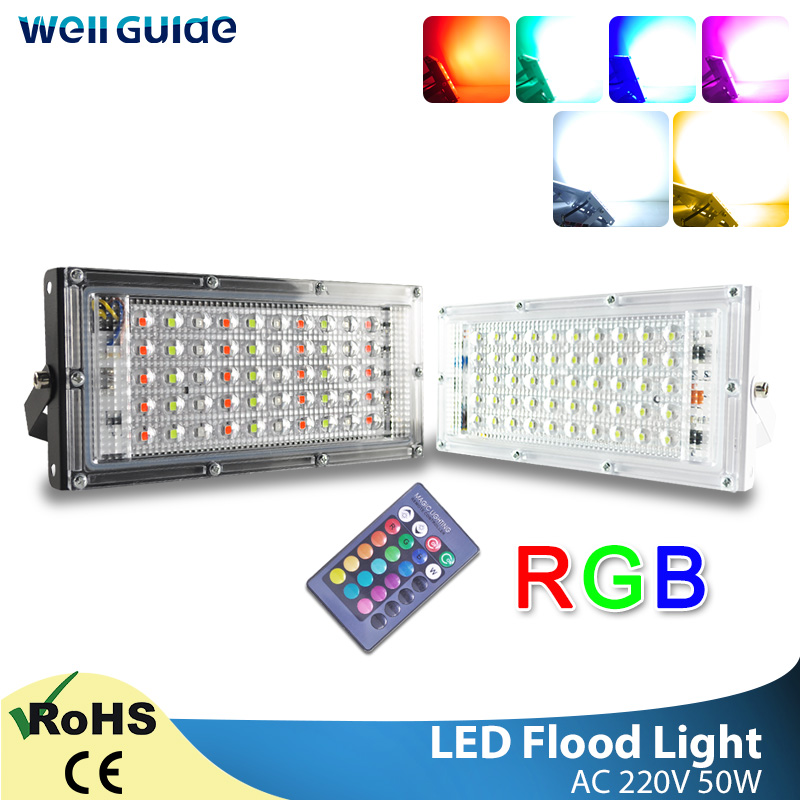 LED Flood Light 50W RGB Outdoor Floodlight AC 220V 240V Remote Control COB Chip LED Street Lamp Waterproof IP65 Outdoor Lighting