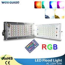 LED światło halogenowe 50W RGB zewnętrzny projektor oświetleniowy AC 220V 240V pilot czip LED COB lampa uliczna wodoodporna IP65 oświetlenie zewnętrzne
