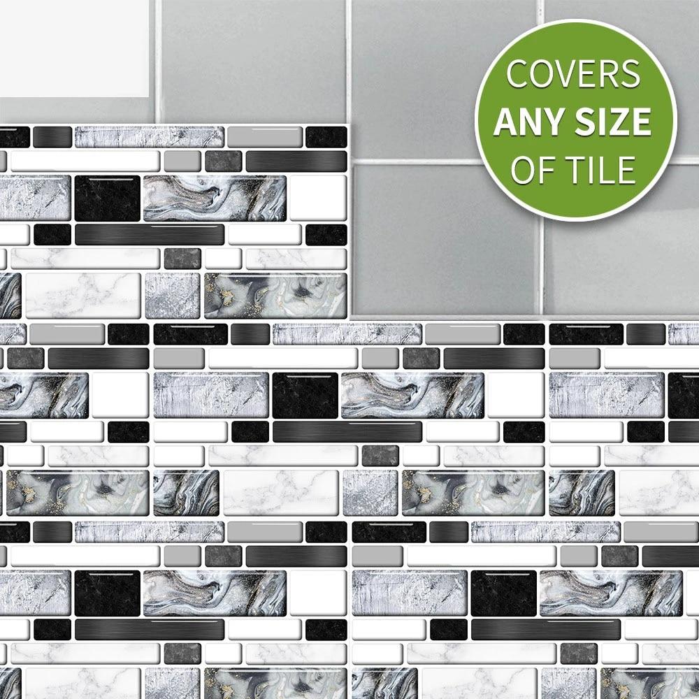 9pcs removable self adhesive mosaic marble tile backsplash wall sticker heat resistant vinyl bathroom kitchen gadgets home decor