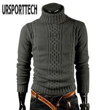URSPORTTECH Autumn Winter Men Turtleneck Sweater Pullover High Lapel Pullover Jacquard Sweater Men's Linen Turtle Neck Sweaters