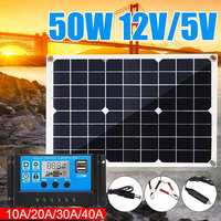 50W solar panel 12V/5V Double USB+10/20/30/40A Dual USB Solar Panel Regulator Controller ect for car yacht RV Lights Charge