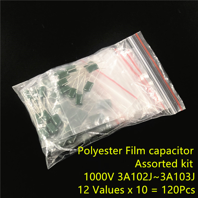 1000V Mylar Film Capacitor Assorted Kit 3A102J~3A103J 1nF~10nF 12value X 10pcs