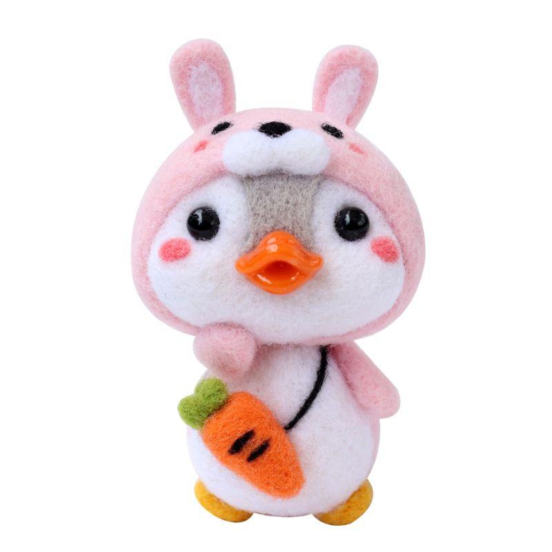 Felt Craft DIY Non Finished Felting Poked Handcraft Wool Felt Poked Set DIY Rabbit Penguin Felt for Needle Poke Material Pack