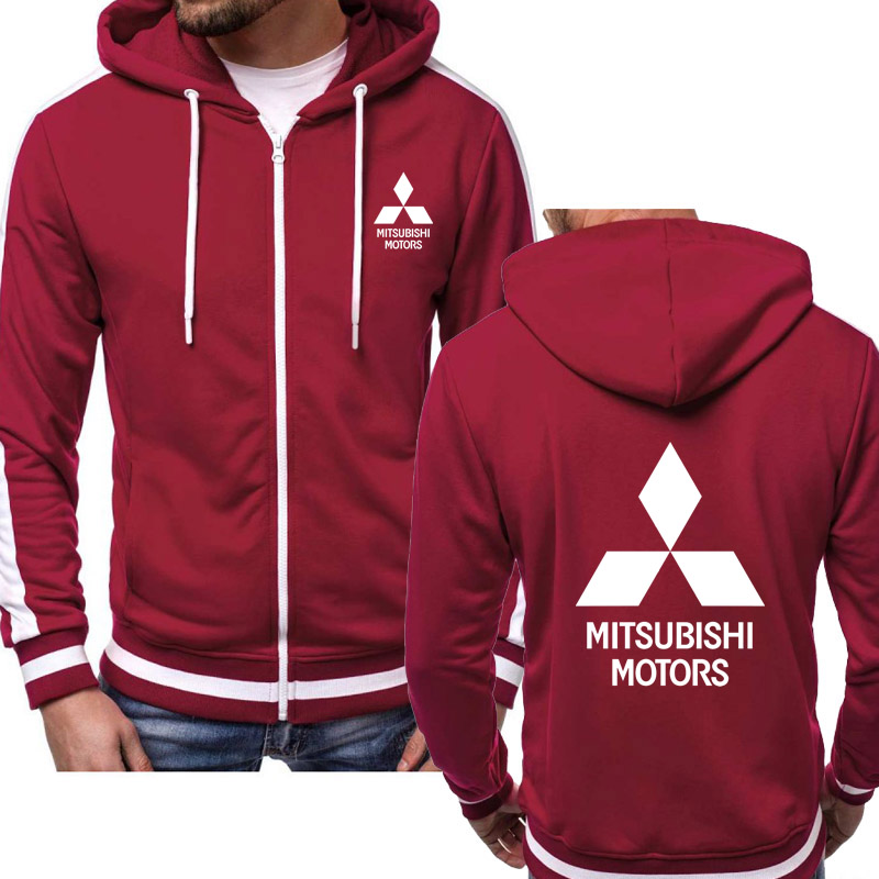 Hoodies Men Mitsubishi Car Logo Print Casual HipHop Harajuku Hooded Fleece Sweatshirts Zipper Jacket Man  Sportswear