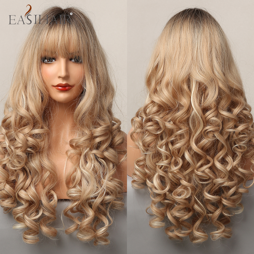 EASIHAIR Ombre Brown Champagne Blonde Highlight Long Loose Wave Synthetic Hair Wigs with Bang Heat Resistant Fake Hair for Women