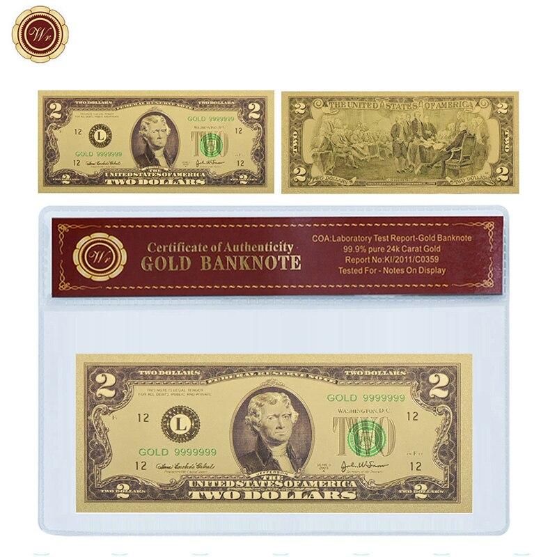 WR Prop Money 2 доллара США Золотая Коллекционная Банкнота с COA рамкой американские 2 доллара поддельные деньги Банкноты деловой подарок для мужчин