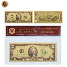 Billete coleccionable de oro WR Prop Money 2 USD con marco COA Estados Unidos, 2 dólares, billetes falsos, regalo de negocios para hombres