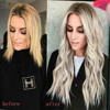 AISI BEAUTY Long Wavy Womens Wig Natural Part Side Hair Ombre Synthetic Wigs Platinum/Blonde/Black Wigs Heat Resistant for Women 4