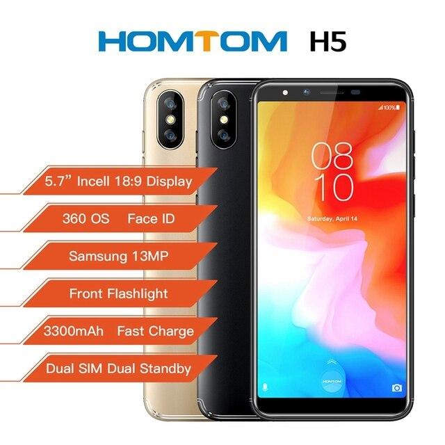 "HOMTOM H5 สมาร์ทโฟน 3GB RAM 32GB ROM 5.7 ""4G LTE MTK6739 Quad Core Android 8.1 13.0MP 3300MAHลายนิ้วมือFace IDโทรศัพท์มือถือ"