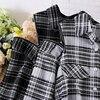 Mid-Length Plaid Top Printed Blouses Women Fashion Turn Down Collar Shirts Women Elegant Zipper Off Shoulder Tops Female Ladies 3
