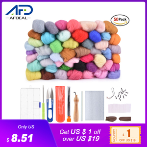 Fibra de lana Roving de 36/50 colores para aguja de fieltro para bricolaje hilado a mano de fibra de costura Kit de manualidades de costura aguja artesanal tejido de lana