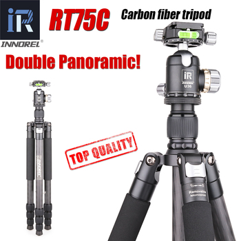 цена на RT75C Super carbon fiber Professional tripod for digital DSLR camera heavy duty stand support double panoramic ballhead Monopod