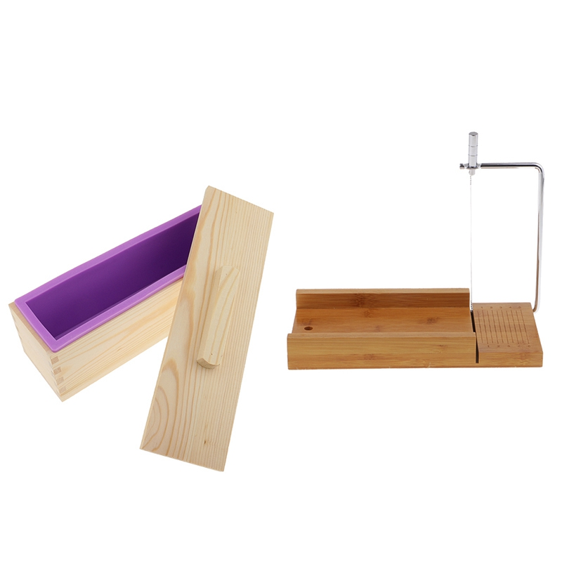 Hot Sale Wooden Box, Silicone Soap Loaf Mold and Soap Cutter Wire Slicer, for DIY Soap/Cake/Chocolate Making Tools