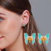 Новые корейские элегантные милые серьги гвоздики с бабочками