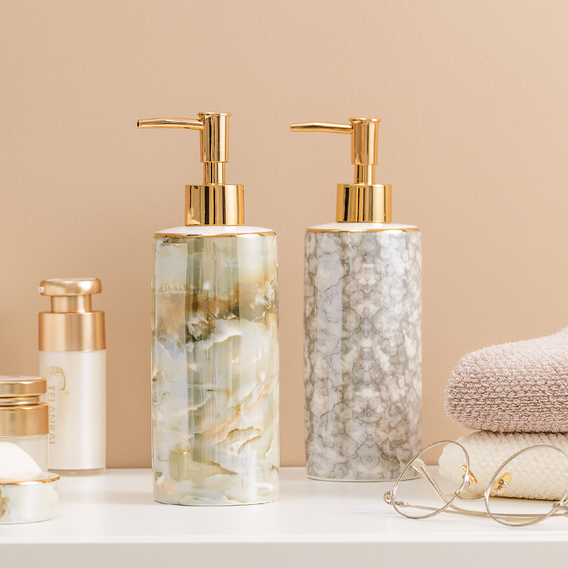 1 Pc Nordic Ins Ceramic Liquid Soap Dispenser Lotion Dispensing Bottle Hand Sanitizer Press Bottle Bathroom Accessory Set Gift