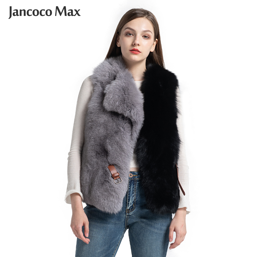 New Arrival Women Real Fox Fur Vest Fashion Mixed Color Gilets Belt Winter Thick Warm Waistcoat S7564