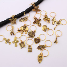 10Pcs/Pack Golden 11 Styles Life Tree Charms Hair Braid Dread Dreadlock Beads Clips Cuffs Rings Jewelry Dreadlock Accessories