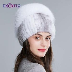 Image 2 - Enjoyfurリアルキツネの毛皮の帽子女性の自然なミンクの毛皮女性の冬帽子垂直ラインストーン高品質ビーニーファッションキャップ