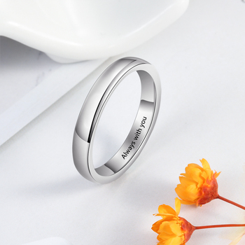 Personalized 925 Sterling Silver Rings for Women Custom Name Ring Simple Silver 925 Finger Ring Wedding Bands Fine Jewelry 925 sterling silver arabic ring personalized custom nameplate thin ring arabic letters name jewlery women fashion