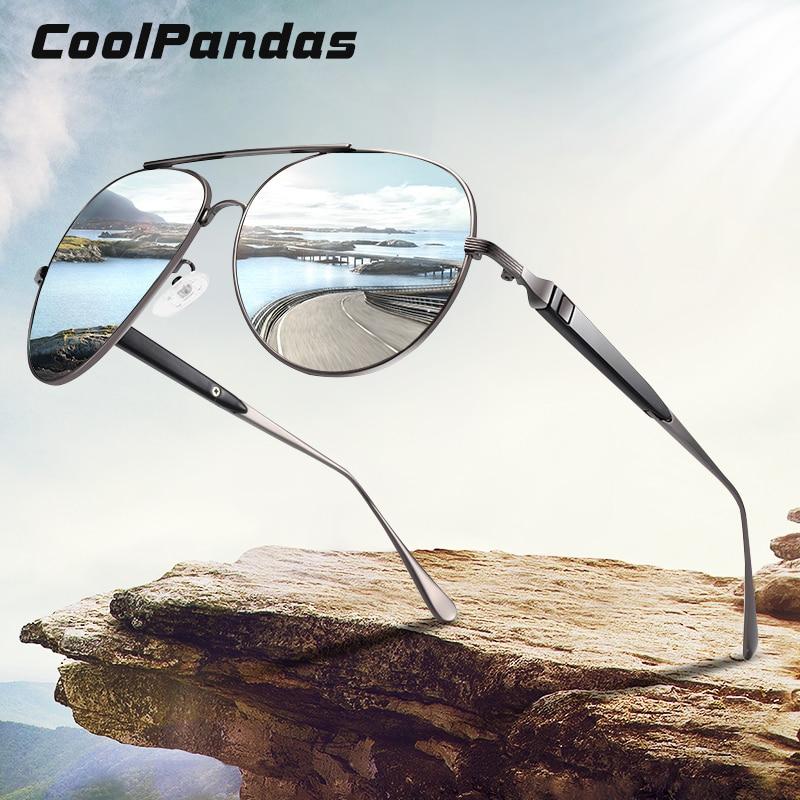 CoolPandas Top Brand Pilot Sunglasses Men Polarized Sun Glasses For Male 2020 Anti-Glare Driving Oculos Lunettes De Soleil Homme