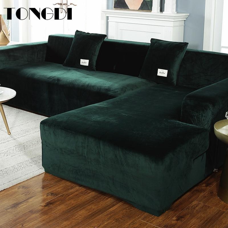 TONGDI Lustrous Elastic Sofa Cover Soft Elegant All-inclusive Velvet Luxury Pretty Decor Slipcover Couch For Parlour LivingRoom