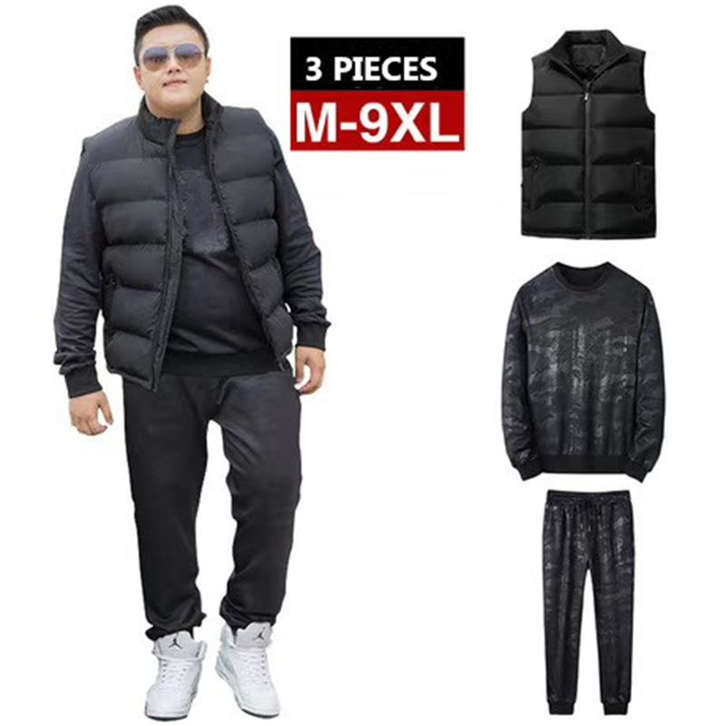 3 Piece Jogger Set 9XL 8XL 7XL Plus Size Mens Tracksuit Causal Men Long Sleeve Jacket Warm Vest Pant Set Sportwear Suit Male