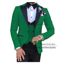 Зеленый с черной кожей для мужчин, изготовленный на заказ, тонкий костюм жениха Terno, 3 предмета, Свадебный мужской костюм, мужской костюм (пиджак + брюки + жилет)