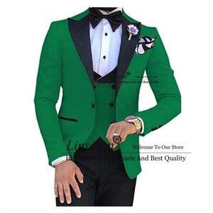 Image 1 - สีเขียวสีดำ Lapel ชุดสำหรับผู้ชายที่กำหนดเองทำ Terno Slim เจ้าบ่าวที่กำหนดเอง 3 ชิ้นงานแต่งงาน Mens ชุด Masculino (เสื้อ + กางเกง + เสื้อกั๊ก)