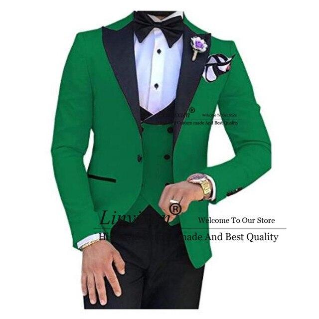 สีเขียวสีดำ Lapel ชุดสำหรับผู้ชายที่กำหนดเองทำ Terno Slim เจ้าบ่าวที่กำหนดเอง 3 ชิ้นงานแต่งงาน Mens ชุด Masculino (เสื้อ + กางเกง + เสื้อกั๊ก)