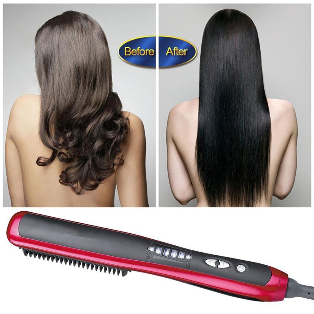 Multifunctional Professional Electric Hair Straightener Ironing Styling Brush Hair Comb Brush  Quick Hair Styler For Men  Women