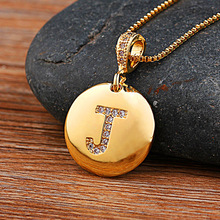 Fashion Initial 26 Letter Necklace Gold Chain Charm Name Necklaces Pendants Copper CZ Jewelry Statement Necklace For Women Girls 2019 statement multilayer letter pendant necklace charm gold necklace bread beads chain necklace jewelry for women