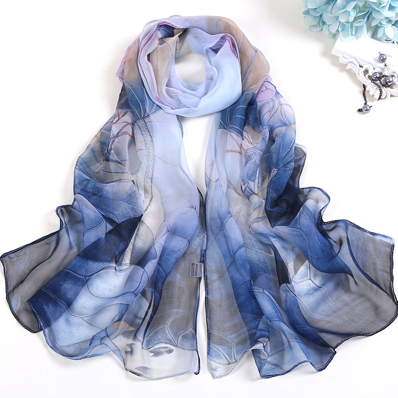 Women's Sunscreen Silk Scarf Soft And Comfortable Printing Gradient Gradient Beach Long Thin Scarf