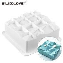 SILIKOLOVE – moule à gâteau en Mousse de Silicone antiadhésif, outils de décoration de cuisson, ustensiles de cuisson, forme de Cube géométrique, nouvelle forme