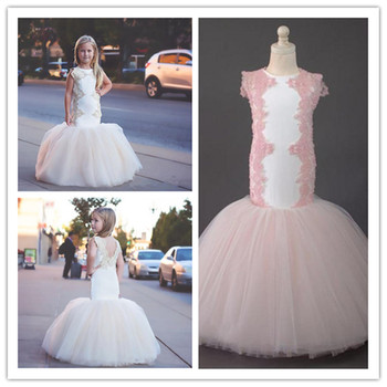 Mermaid Lace 2019 Arabic Flower Girl Dresses Crew Tulle Sexy Child Wedding Dresses Vintage Little Girl Pageant Dresses