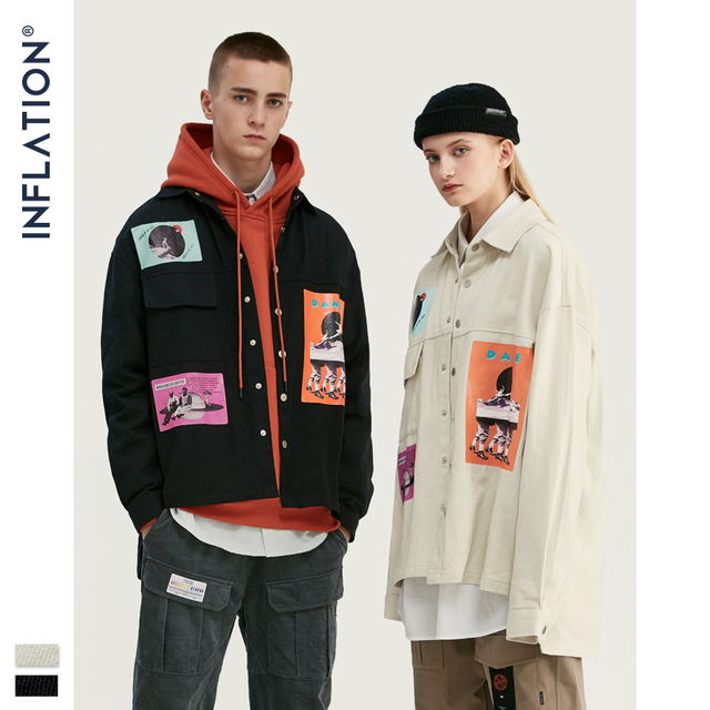 INFLATION DESIGN Oversized Fit Graphic Printing Men Shirt Black White Relaxed  Men Casual Shirt Streetwear Style 92154W