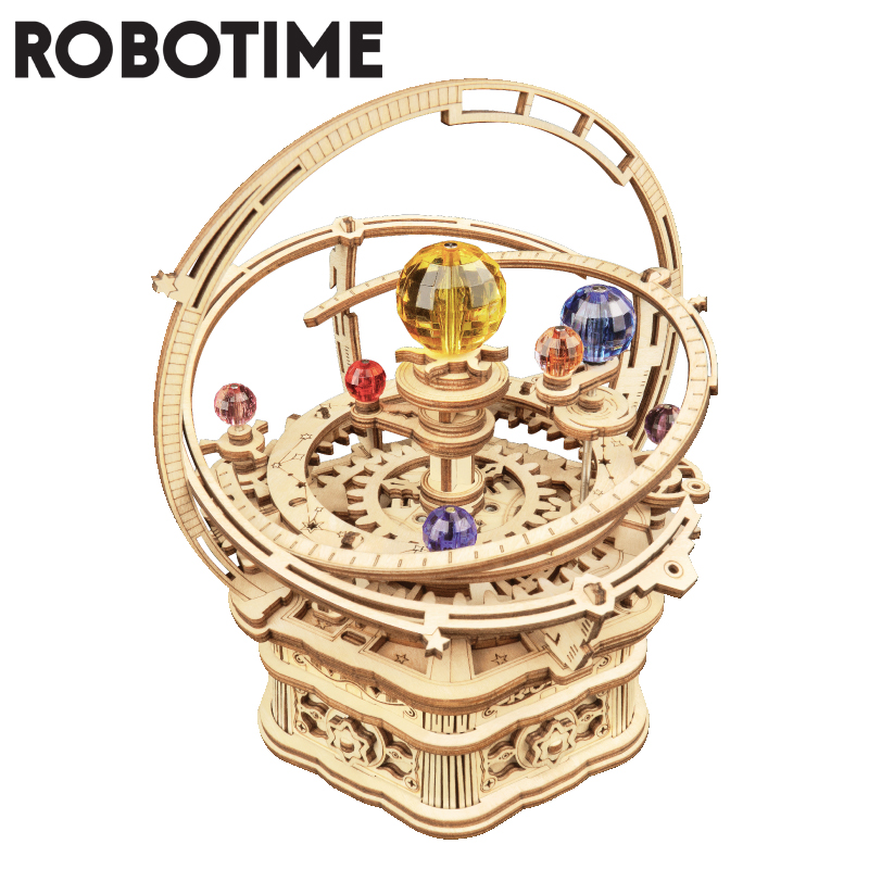 Robotime 84pcs Rotatable DIY 3D Starry Night Wooden Model Building Kits  Assembly Music Box Toy Gift for Children Kids Adult