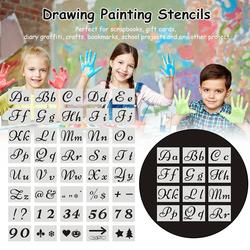 40PCS Drawing Scrapbooking Proportion Template Set Letters Numbers Scrapbook Openwork Templates Cards Craft Items