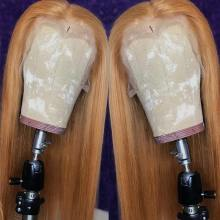 #30 Straight Lace Front Wig Remy Hair Honey Blonde Lace Front Human Hair Wigs 13*1 Lace Part Peruvian Pre-Plucked Pinshair 180%