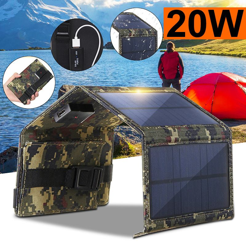 20W Portable Solar Panel 5V Folding Solar Cell Foldable Waterproof USB Port Charger Mobile Power Bank for Phone Battery Outdoor