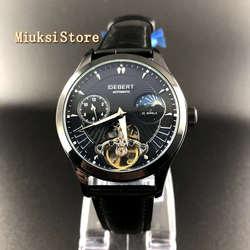 2019 nowych mężczyzna luksusowy zegarek mechaniczny Debert 41mm koła zamachowego czarny dial skórzany wodoodporny automatyczny rozrywka zegarki