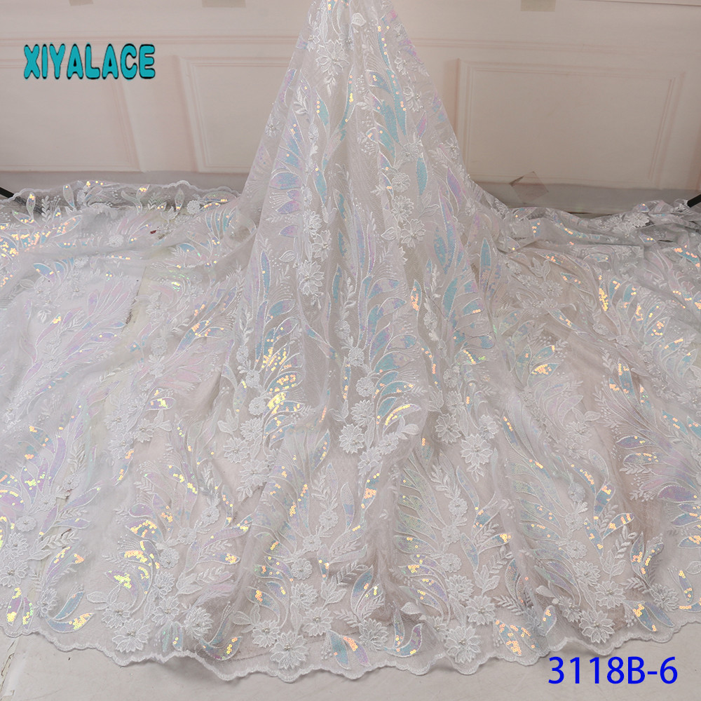 White Sequins Lace Fabric 2019 High Quality Lace Nigerian Lace Fabric For Women Dress African Tulle Lace With 5yards YA3118B-6