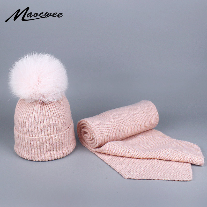Knitted Hat And Scarf Sets For Women's Hats Winter With Big Natural Fox Fur Pompom Fleece Balaclava Top Bone Gorro Fashionable