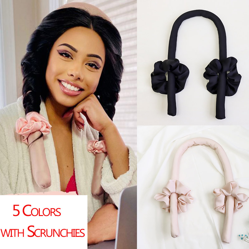 Lystrfac Slik Satin Heatless Hair Curler Headband for Women Hair Wrap Curling Ribbon Girls Scrunchies Headwear Hair Accessories