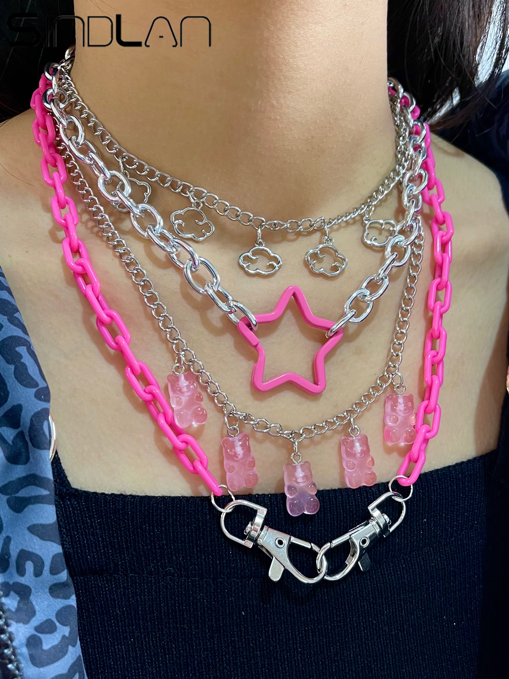 Punk Pendant Necklace Set for Women Chain with Gift Silver Color Cloud Cute Funny Kpop Pink Bear Y2k EMO Female Handmade Jewelry