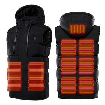 Unisex 9 Places Heating Hooded Jackets Electric USB Heated Vest Heating Jackets Heat Coat Thermal Clothing Coat Winter Warm 1