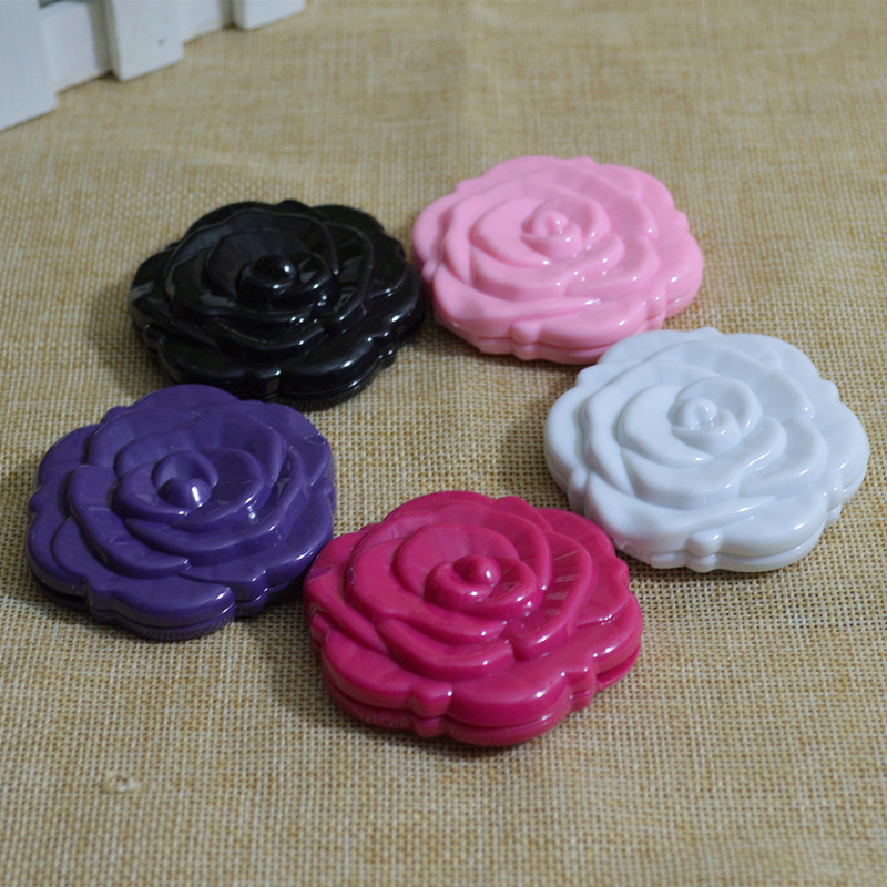Mini Vintage Retro Rose Flower Shape 3D Stereo Double Sided Cosmetic Makeup Compact Mirror 4 Colors Choose