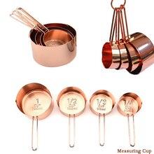 4pcs/set Kitchen Stainless Steel Measuring Spoons Cups Cooking Baking Tool Set Utensil Metal Handle