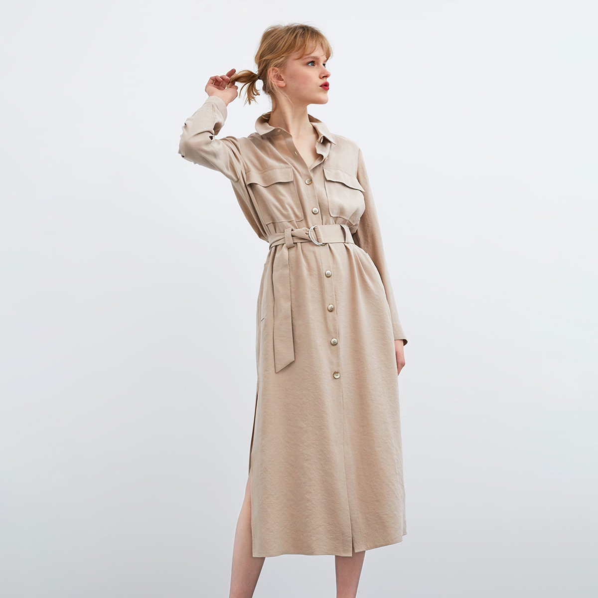 2019 Autumn Women Coat Safari Style Long Sleeve Turn Down Collar Sashes   Trench   Women Coat Pocket Single Breasted Solid Coat
