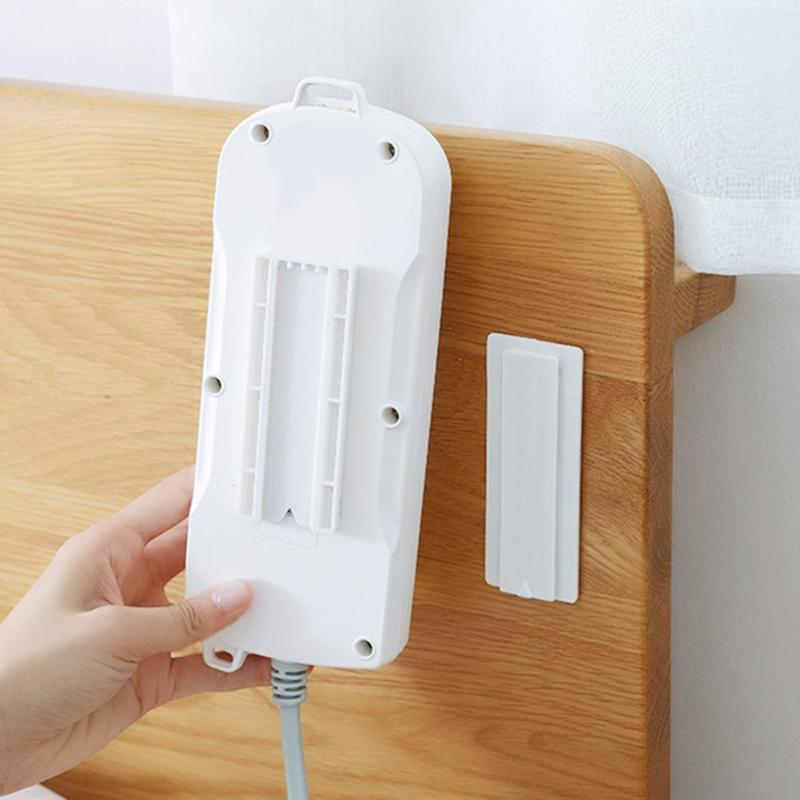 Wall-Mount Power Strip Holder Seamless Sticker Self-Adhesive Home Plug Rack