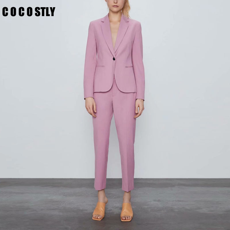 Autumn Women Pant Suits Pink Single Button Blazer Jacket+Zipper Trousers Office Ladies Suits Two Piece Set Female Outwear
